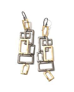 """IPPOLITA """"Crinkle Noir"""" 18K & Black Sterling Silver Drop Earrings is on Rue. Shop it now."""