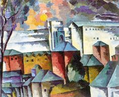 'Landscape with the monastery walls', 1920 by Aristarkh Lentulov (1882-1943, Russia)