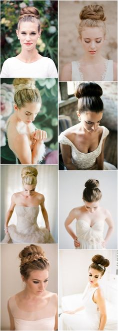 bridal wedding hairstyles -Topknot bun hairstyles, Updos - Deer Pearl Flowers