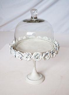 White Floral Cake Stand #white #rose #floral #flower #boho #vintage #cake…