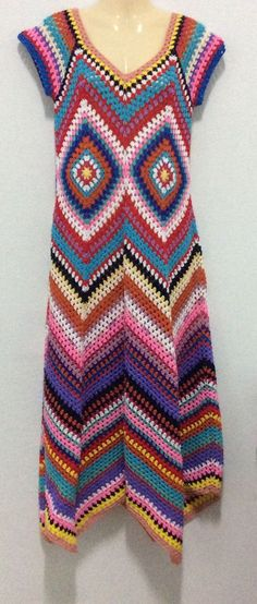 Boho jurk zomer gehaakte jurk/Multicolor gehaakte door Kninghandmade More