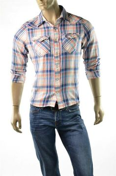 Hollister Shirt Men's Brush Cotton Flannel Button Up Slim Muscle Shirts Sz M New #Hollister #ButtonFront #5Gables