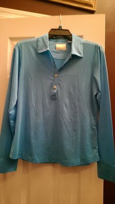 34.99$  Watch here - http://viurs.justgood.pw/vig/item.php?t=hj03u4f55600 - NWT Ladies EP PRO Aegean Blue Long Sleeve Golf Shirt - size M MERIDIAN 34.99$