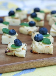 Halloumi and Hummus Bites with Blueberry and Mint.