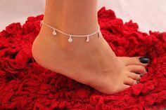Sterling Silver Anklet Flower Anklet Bracelet by VandAjewelry