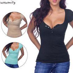 >> Click to Buy << Summer Sexy Deep V Neck Side T Shirt Women Short Sleeve t-shirt Button open chest Women tops Blusas black tee shirt femme #Affiliate