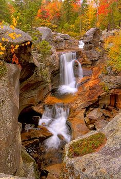 Autumn Waterfall-- The height and length of this beautiful #Waterfall is just fascinating. I would love to follow it all the way down.