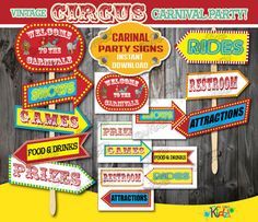 Instant Download! Carnival Party signs,Vintage Circus Party decoration,Carnival Birthday Decorations, Carnival Baby Shower - Both Directions