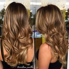 """The perfect sun kissed bronde ☀️ golden balayage highlights on my clients light brown base #beautybycristen"""