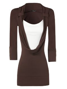 chocolate two in one cowl neck top; I wonder how much international shipping would set me back?  ;-)