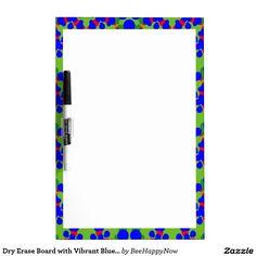 Dry Erase Board with Vibrant Blue Design Border