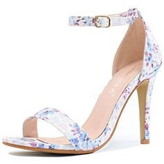 bcc0b0dd5ff52c Allegra K Women Floral Prints High Heel Ankle Strap Sandals Size US 10 Blue  --