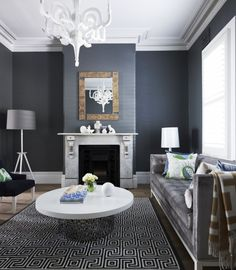 Greg Natale - lounge room & white chandelier