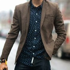 Shop this look for $77:  http://lookastic.com/men/looks/navy-and-white-polka-dot-longsleeve-shirt-and-brown-wool-blazer-and-navy-jeans/2441  — Navy and White Polka Dot Longsleeve Shirt  — Brown Wool Blazer  — Navy Jeans