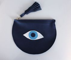 Evil Eye Purse / All Seeing Eye Purse / Navy Blue by cloverhunter