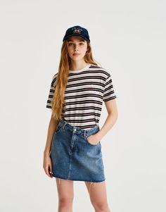 Short sleeve striped T-shirt - T-shirts - Clothing - Woman - PULL&BEAR Canary Islands