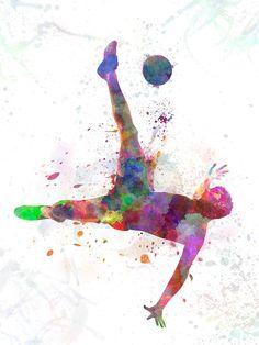 'man soccer football player flying kicking' Poster by paulrommer – World Soccer News Soccer Pro, Soccer Drills, Soccer News, Play Soccer, Soccer Ball, Soccer Cleats, Soccer Socks, Soccer Referee, Live Soccer