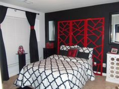 DIY Always wanted a Black, White and Red Room. The headboard (I spray-painted it this lacquer red), black and white nightstands, mirrors over nightstands and the lamp are all HG finds