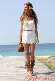 @prettygirltips White Outfit and Fringe Sandals