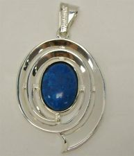 "STERLING SILVER 925 BLUE JASPER PENDANT SLIDE FOR NECKLACE 2.20"" LONG OVAL 15g"