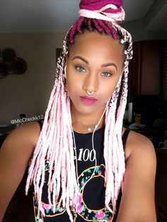Pink Yarn Braids - IG @MicCheckk12 #yarnbraids #protectivestyles