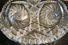 Vintage Depression/Cut Glass Bowl by GlossyStones on Etsy, $15.00