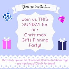 Join us for our Christmas Gifts pinning party as we get ready for Small Business Saturday! Go to the Handmade Horizons Facebook page at 8pm on Sunday December 1st to take part, and tell us which 3 products from your online shop that you'd like us to feature on the #SmallBizSatUK boards