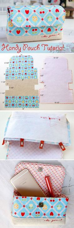 62 Ideas Diy Bag Ideas Pouch Tutorial For 2019 Purse Patterns, Sewing Patterns, Patchwork Patterns, Sewing Hacks, Sewing Tutorials, Bag Tutorials, Tutorial Sewing, Sewing Tips, Sewing Crafts