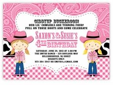 Cowboy Up Cowgirl Twins Ranch Birthday Party Invitation - Custom Twins Birthday Invitations from the leader in Twins & Multiples stationery products - www.amyscardcreations.com - Cards as low as $1.15 - Thank you for shopping with me and supporting small business!