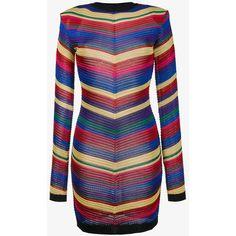 Balmain Balmain Chevron Knit Dress (10,995 GTQ) ❤ liked on Polyvore featuring dresses, multi color chevron dress, colorful chevron dress, balmain, chevron dresses and chevron print dress