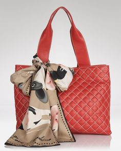 Swap the staid tote bag in favor of this quilted leather style from Love Moschino. Accessorized with a bold scarf, this bag lives to enliven your daytime uniform. Quilted Leather, Leather Fashion, Purse Wallet, Moschino, Shoulder Bag, Handbags, Tote Bag, Purses, Wallets