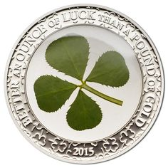 The number of leaves on the clover can vary in rare cases. A symbol of good the luck, the most well known is definitely the four leaf clover. Carry this coin around for good luck, or pass the luck Old Money, Key Dates, Four Leaf Clover, How To Get Rich, Coin Collecting, Silver Coins, Things To Come, Paper, Christmas Sweaters