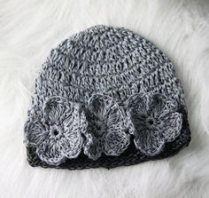 light gray and dark Infant Girl  hat boho style by blazznflower, $9.00