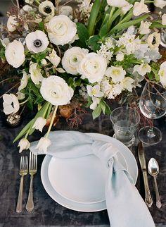La Tavola Fine Linen Rental: Velvet Charcoal with Tuscany Ocean Napkins | Photography: Christina McNeill, Floral Design: Loop Flowers, Tabletop Rentals: Bright Event Rentals, Film Processing: Richard Photo Lab