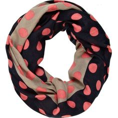 River Island Navy Polka Dot Colour Block Snood ($15) ❤ liked on Polyvore featuring accessories, scarves, accessories - scarves, sciarpe, snood scarves, navy blue scarves, river island, polka dot scarves and navy shawl