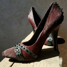 """Naughty Monkey pony hair & spikes heels - NEW Gorgeous,  brand new - without the box -  pumps... maroon 100% pony hair and spikes, leather upper, the back of one, the right foot, is missing one spike,  as seen in the 2nd picture..... heels are 4 1/2"""" .... I can't tell you anything about the fit because they're not my size....tu4 naughty monkey Shoes Heels"""