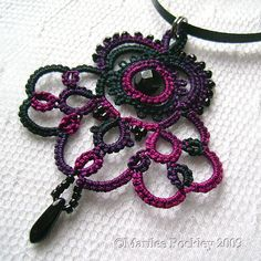 """Belle"" pendant by yarnplayer  I love all the colors in this. If I could find the thread I would so try to make it asap!"