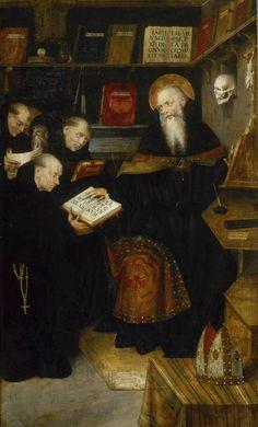 Saint Augustine teaching the hermits / Saint Augustin enseignant les ermites (face) / Saint Jérôme (revers) // circa 1520 //   Attribué à Defendente Ferrari // Musée des beaux-arts de Dijon // #teaching #faith #theology