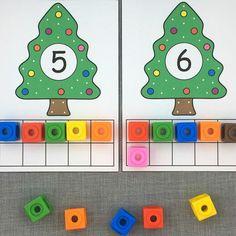 holiday tree ten frames for preschool and kindergarten