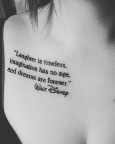 What makes our life more magical than a Disney Tattoo forever? We show you the most popular Disney tattoos, which will perpetuate a fairy tale memory on our skin! Dream Tattoos, Future Tattoos, Body Art Tattoos, New Tattoos, Cool Tattoos, Tatoos, Thigh Quote Tattoos, Saying Tattoos, Small Tattoos