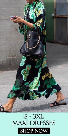 Stylish Green Floral Print Long Sleeve Maxi Dresses #Maxi #Dress #Green