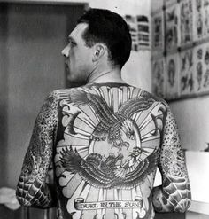 Lyle Tuttle's back-piece done by legendary tattoo artist Bert Grimm in 1957-58. #TattooHistory #VintageTattoos #VanishingTattoo
