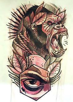 creative-gorilla-tattoo-sketch.jpg (439×610)