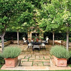 Shady patio to spend leisure time.