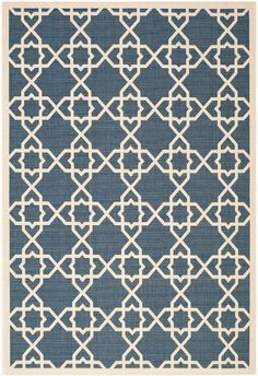 I'm learning all about Safavieh Moroccan Indoor/Outdoor Courtyard Navy/Beige Rug (4' x 5'7) at @Influenster!