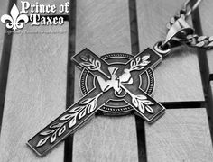 "Taxco .925 solid sterling silver ""WORLD PEACE"" oxidized Christian CROSS. 1.5"" tall, handmade solid piece. Free shipping. Model# PRVL_020"