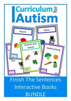 Finish The Sentences Interactive Books BUNDLE (11 books) for students with autism and special needs to practice finding the correct word to finish a sentence.This DISCOUNTED BUNDLE contains:Sentences Interactive Book 1- Animals & InsectsSentences Interactive Book 2- NounsSentences Interactive Book 3- AdjectivesSentences Interactive Book 4- ColorsSentences Interactive Book 5- Sensory ActivitiesSentences Interactive Book 6- Healthy EatingSentences Interactive Book 7- Baby AnimalsSentences I...