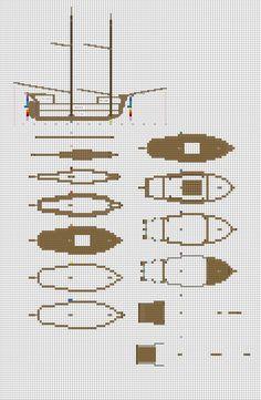Minecraft sailing Brig plans pg1 hull by ColtCoyote.deviantart.com on @DeviantArt