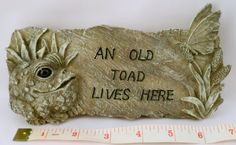 YARD STAKE / PATH MARKER SIGN - AN OLD TOAD LIVES HERE / GREY by HOME STYLES. $9.99. 3D YARD STAKE  . FROG HAS A AN EYE THAT LOOKS LIKE GLASS
