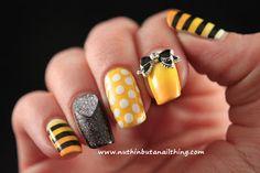 I want this too! stripe polka dot ribbon yellow black white nails